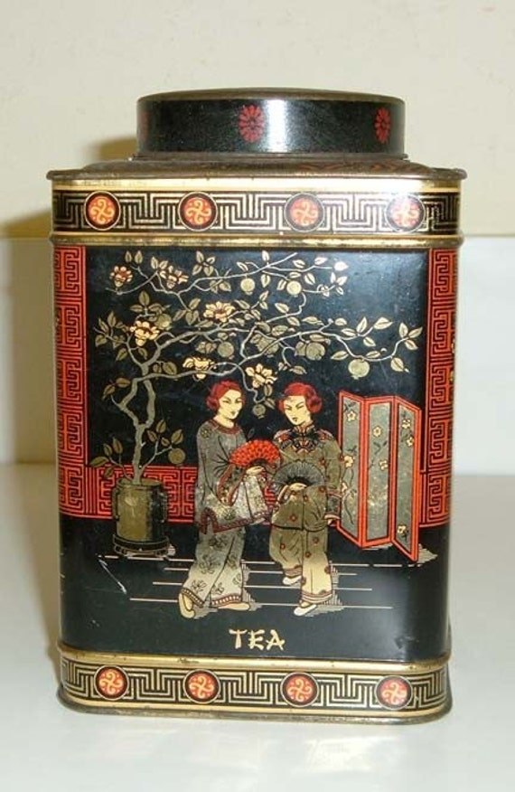 Vintage Black English Chinoiserie Tea Caddy Tin
