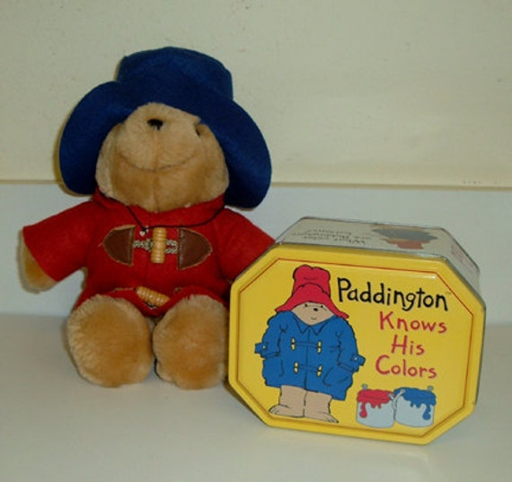 Vintage Paddington Bear Collector Tin Box and Plush Bear Toy Crayon Bocx