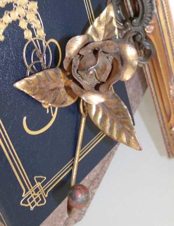 SALE Vintage Italian Florentine Rose Tole Hook Hollywood Regency Paris Apt