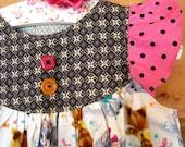Sprinkle Cupcake girl's pinafore dress 2 3 or 4 5 as top