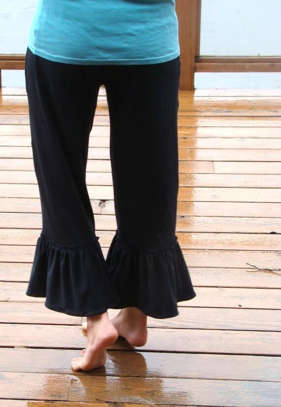 Black Licorice Women's organic bamboo knit  ruffles