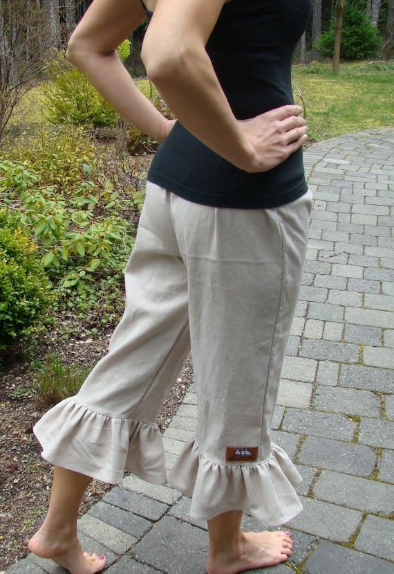 Biscotti women's linen ruffle pants XS