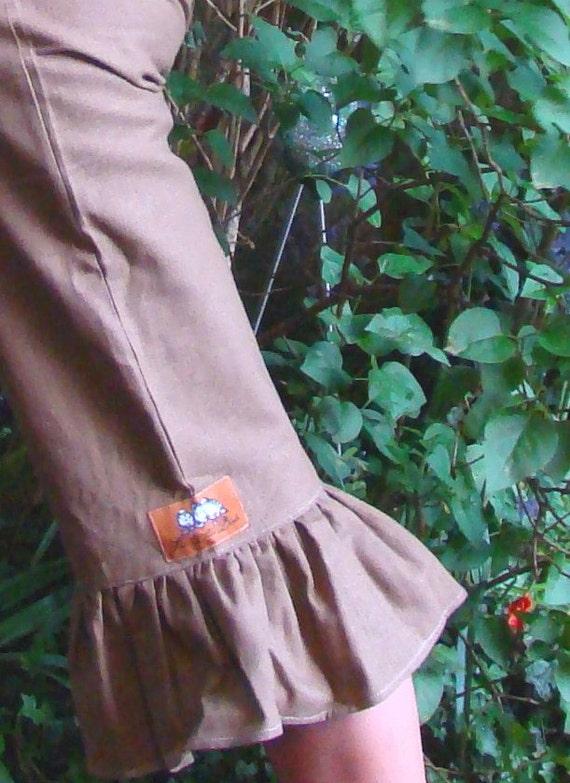 Cocoa women's linen ruffle capri pants