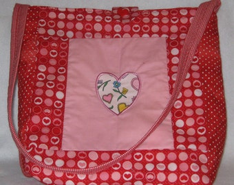 Dotty about Hearts and Flowers Reversible Tote Bag