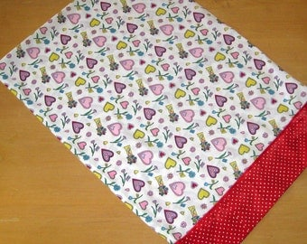 Cotton Heart and Flower Print Standard Pillowcase with Red Batik Contrast and Ribbon