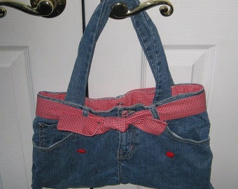 Upcycled Blue jean bag with red check lining