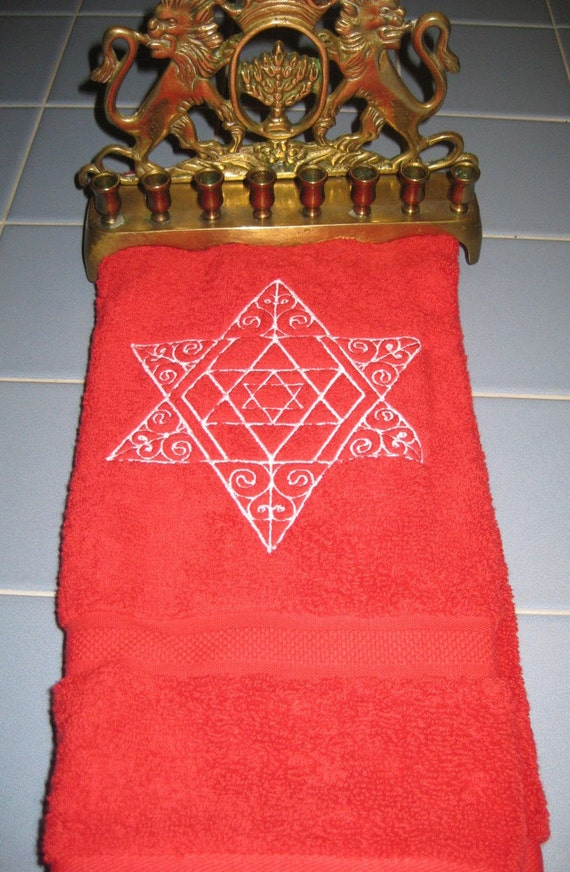 Red Hand Towel with Filagree Embroidered Star of David