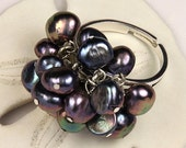 SALE - NIGHTFALL 925 Sterling Silver and Freshwater Pearl Adjustable Cluster Ring - OOAK