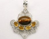 SALE - Tiger Eye and Quartz Sterling Silver Exotic Steampunk 2 Inch Pendant