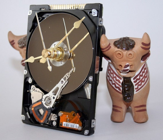 Laptop Computer Hard Drive Wall or Desk Clock
