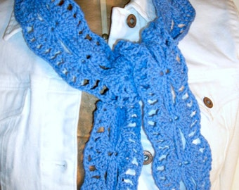 Crochet Cadet Blue Organic Cotton Scarf - Accessories / Women / Teens