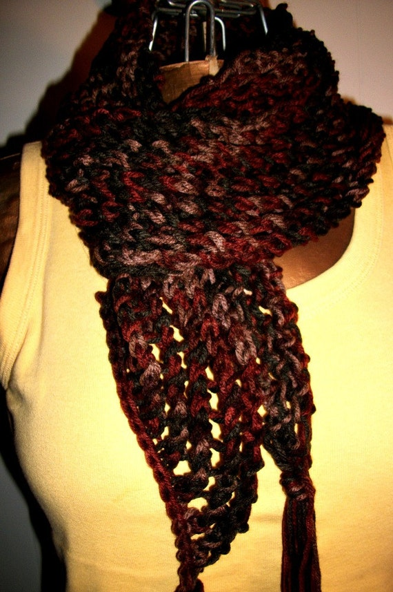 20% Discount - Enter coupon code 20SHOPDISC on check out - Mesh Lace Scarf in Ombre colors of rusty browns to dark grey/Women/Teens