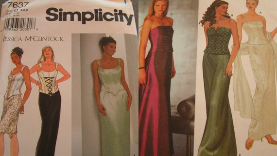Sale Two Simplicity Dress patterns size 4,6,8 and 4,6,8,10 by Jessica McClintock
