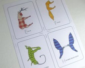 Animal Shaped Alphabet Cards Printable