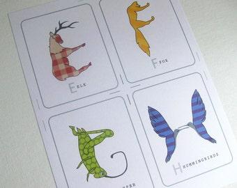 Animal Shaped Alphabet Cards Printable