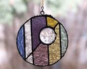 Moon Face Medallion Stained Glass Suncatcher