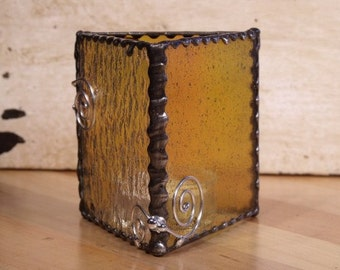 Stained Glass Candle Cover with Wire Spirals