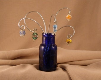 Fancy Glass Beads and Wire Bouquet , Sculptural Art, Repurposed Vintage Blue Bottle