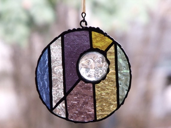 Moon Face Medallion Stained Glass Suncatcher