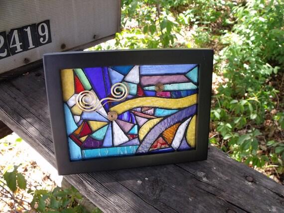 Glass Art Mosaic, Framed Abstract
