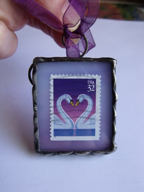 Swan Song Postage Stamp Stained Glass Keepsake Ornament