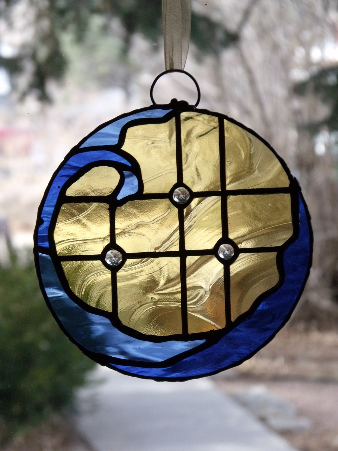 Starlight Wave Stained Glass Art Suncatcher Made With Blue