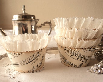 Just a Note. Twelve Antique Sheet Music Cupcake Wrappers with Shimmering Ruffles