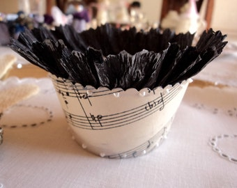 Sweet Music. 12 Antique Sheet Music Cupcake Wrappers with Black Ruffles