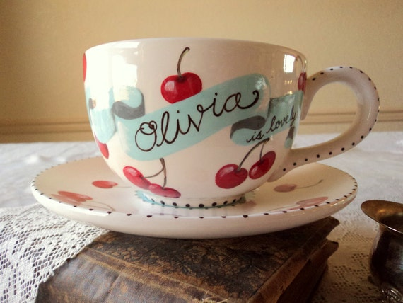 Cherries in the Snow. Custom Personalized Latte Mug and Saucer with Cherries