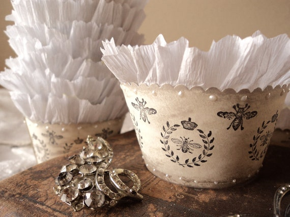Reserved for maileweddings -  50 Cupcake Holders with Royal French Bees
