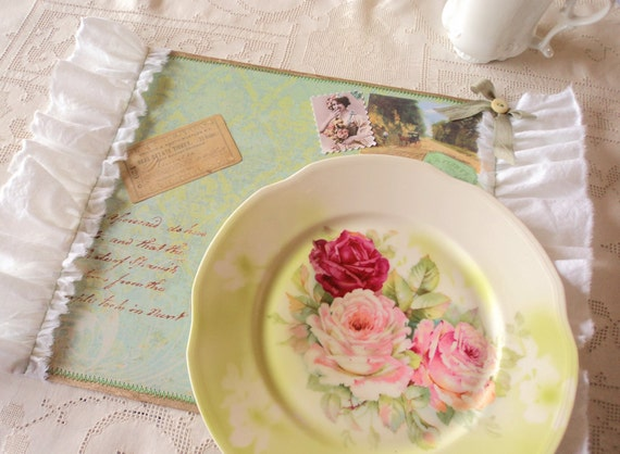 A Pleasant Place. Six Hand Crafted Paper Placemats with Muslin Ruffles