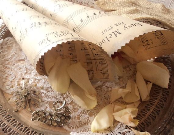 Love Songs. 50 Antique Sheet Music Wedding Confetti Cones