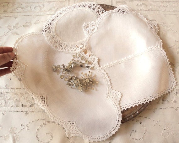 Darling Doilies.  Four Antique Linen and Crochet Lace Doilies in Uncommon Shapes