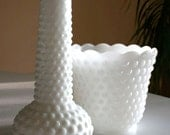 Two Hobnail Milk Glass Vases