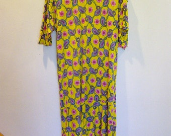 vintage 80s slouchy floral/paisley dress s-m