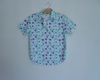 vintage 80s 90s polka dot short sleeve oxford shirt m