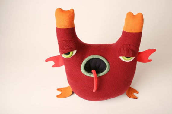 Jeremiah the monster upcycled from wool sweaters