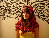 Red and Black striped Hood
