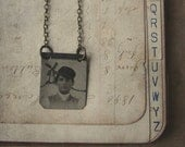 OOAK Altered Tintype Necklace with Hand-Drawn Windmill - Hans and the Windmill