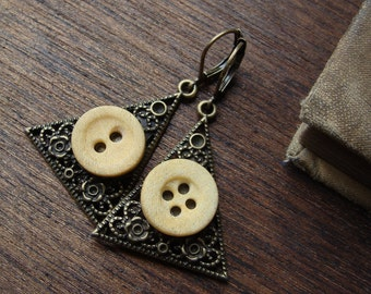 Mystical Pyramid Bone Button Earrings