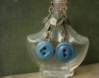 Vintage Indigo Button Earrings