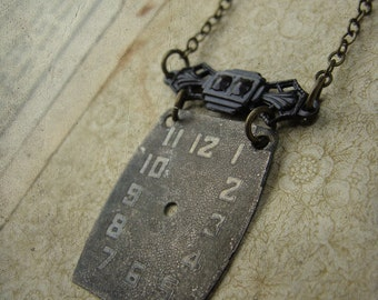 Dark Victorian Repurposed Watchface Necklace - M'Lady's Timepiece No. 002
