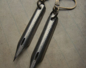 Victorian Pen Nib Earrings - Scribbles No. 017