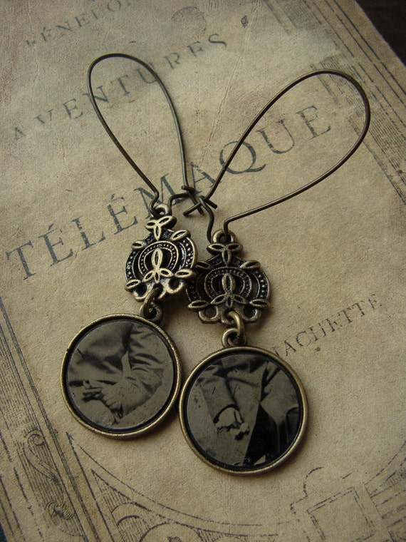 Repurposed Tintype Photo Earrings - If The Glove Fits