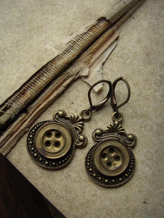 Antique Civil War Uniform Button Earrings - The Girl's Got Brass