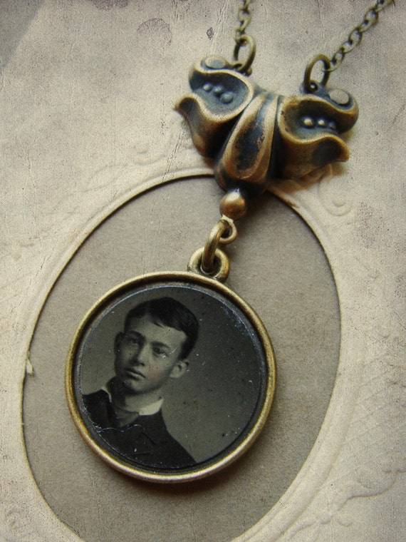 OOAK Victorian Tintype Portrait Necklace - Manuel