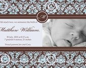 Blue Damask Custom Baby Boy Birth Announcement
