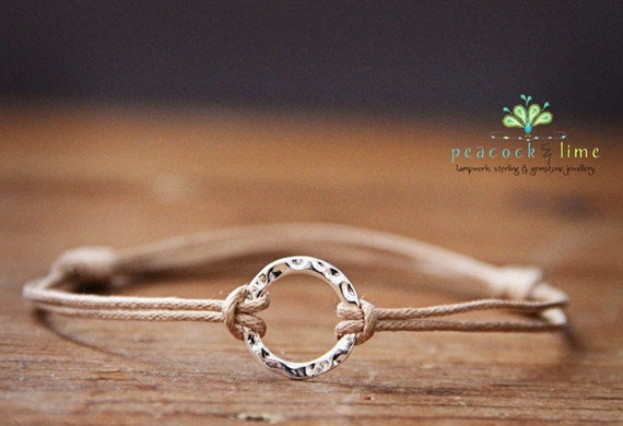 Karma Circle Wish - natural // sterling silver circle wish bracelet // handmade // ready to ship