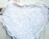 Heart Pillow, Battenburg Lace, Pillow Case, Shabby Chic, French Country Cottage Decor, Linens
