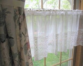 Curtain, Border, French Voile, Lace, Cottage Charm, French Country, Shabby Chic, by mailordervintage on etsy